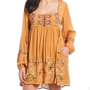 NWT Free People Mustard Embroidered dress XS